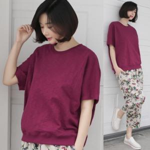 Tシャツ レディース 40代 50代 60代 ファッション 女性 上品  黒 白トップス 無地 半袖 春 ミセス|alice-style