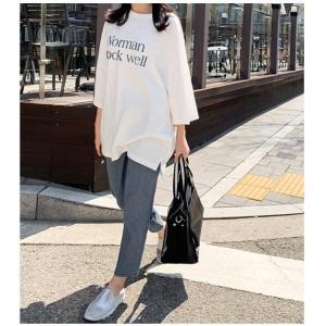 Tシャツ レディース 40代 50代 60代 ファッション 女性 上品  イエロー 黄色トップス ロゴ ゆったり 体形カバー 春 ミセス alice-style 06