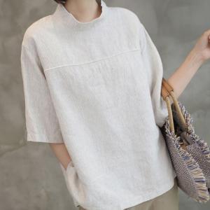 ブラウス レディース 40代 50代 60代 ファッション 女性 上品  ベージュトップス 無地 半袖 春 ミセス|alice-style