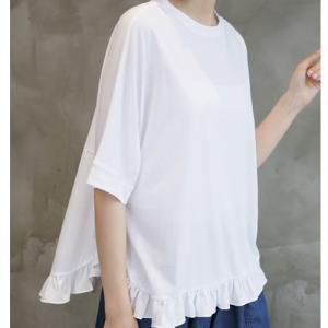 Tシャツ レディース 40代 50代 60代 ファッション 女性 上品  黒 白 イエロー 黄色無地 半袖 ゆったり トップス 春 ミセス|alice-style