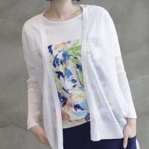 カーディガン レディース 大人 40代 50代 60代 ファッション 女性 上品 黒 白 茶色薄手 シンプル ハーフ丈 春 ミセス|alice-style