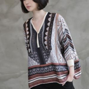 ブラウス レディース 大人 40代 50代 60代 ファッション 女性 上品 黒長袖 ゆっくり トップス 柄 春 ミセス|alice-style