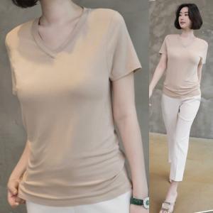 トップス レディース 40代 50代 60代 ファッション 女性 上品  黒 白 ベージュ グレーTシャツ 半袖 無地 春 ミセス|alice-style