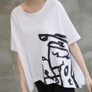 トップス レディース 40代 50代 60代 ファッション 女性 上品  黒 白Tシャツ 半袖 プリント 春 ミセス|alice-style