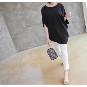 ブラウス トップス チュニック レディース 40代 50代 60代 ファッション 女性 上品  黒 紺 青ドルマン 体形カバー きれいめ 半袖 無地 アンバランス 夏 ミセス|alice-style|14