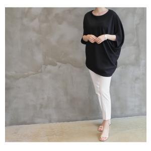 ブラウス トップス チュニック レディース 40代 50代 60代 ファッション 女性 上品  黒 紺 青ドルマン 体形カバー きれいめ 半袖 無地 アンバランス 夏 ミセス|alice-style|06