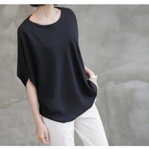 ブラウス トップス チュニック レディース 40代 50代 60代 ファッション 女性 上品  黒 紺 青ドルマン 体形カバー きれいめ 半袖 無地 アンバランス 夏 ミセス|alice-style|10