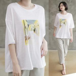 Tシャツ レディース 40代 50代 60代 ファッション 女性 上品  イエロー 黄色トップス 半袖 プリント 春 ミセス|alice-style