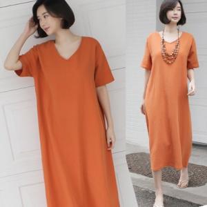 ワンピース レディース 40代 50代 60代 ファッション 女性 上品  ベージュ半袖 無地 ロング丈 ゆったり 体形カバー 春 ミセス alice-style