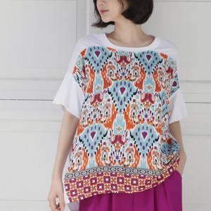 Tシャツ レディース 40代 50代 60代 ファッション 女性 上品  黒 白 ベージュ半袖 プリント 柄 トップス 春 ミセス|alice-style