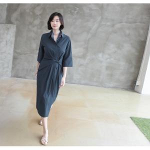 ワンピース レディース 40代 50代 60代 ファッション 女性 上品 シャツワンピース 無地 膝丈 きれいめ 春 ミセス|alice-style|11