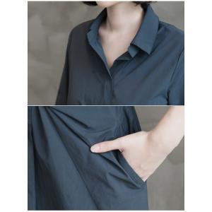 ワンピース レディース 40代 50代 60代 ファッション 女性 上品 シャツワンピース 無地 膝丈 きれいめ 春 ミセス|alice-style|12