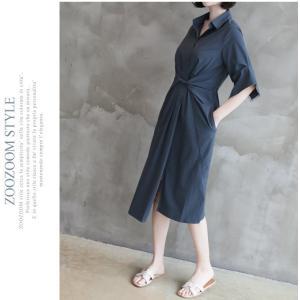 ワンピース レディース 40代 50代 60代 ファッション 女性 上品 シャツワンピース 無地 膝丈 きれいめ 春 ミセス|alice-style|13