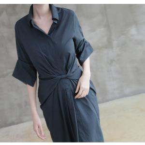 ワンピース レディース 40代 50代 60代 ファッション 女性 上品 シャツワンピース 無地 膝丈 きれいめ 春 ミセス|alice-style|14