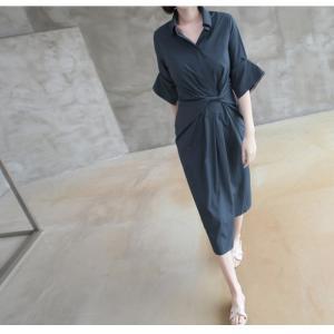 ワンピース レディース 40代 50代 60代 ファッション 女性 上品 シャツワンピース 無地 膝丈 きれいめ 春 ミセス|alice-style|15