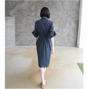 ワンピース レディース 40代 50代 60代 ファッション 女性 上品 シャツワンピース 無地 膝丈 きれいめ 春 ミセス|alice-style|16
