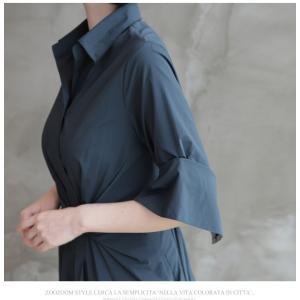 ワンピース レディース 40代 50代 60代 ファッション 女性 上品 シャツワンピース 無地 膝丈 きれいめ 春 ミセス|alice-style|17
