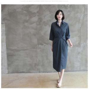 ワンピース レディース 40代 50代 60代 ファッション 女性 上品 シャツワンピース 無地 膝丈 きれいめ 春 ミセス|alice-style|18