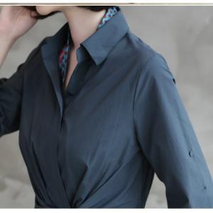 ワンピース レディース 40代 50代 60代 ファッション 女性 上品 シャツワンピース 無地 膝丈 きれいめ 春 ミセス|alice-style|04