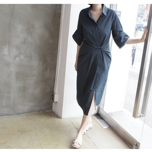 ワンピース レディース 40代 50代 60代 ファッション 女性 上品 シャツワンピース 無地 膝丈 きれいめ 春 ミセス|alice-style|06