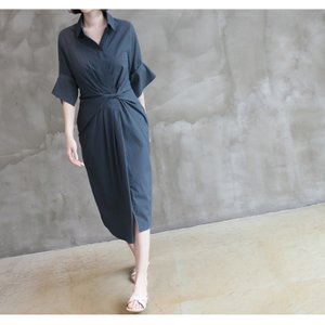 ワンピース レディース 40代 50代 60代 ファッション 女性 上品 シャツワンピース 無地 膝丈 きれいめ 春 ミセス|alice-style|07