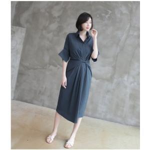ワンピース レディース 40代 50代 60代 ファッション 女性 上品 シャツワンピース 無地 膝丈 きれいめ 春 ミセス|alice-style|08
