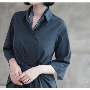ワンピース レディース 40代 50代 60代 ファッション 女性 上品 シャツワンピース 無地 膝丈 きれいめ 春 ミセス|alice-style|09