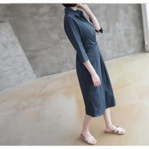 ワンピース レディース 40代 50代 60代 ファッション 女性 上品 シャツワンピース 無地 膝丈 きれいめ 春 ミセス|alice-style|10