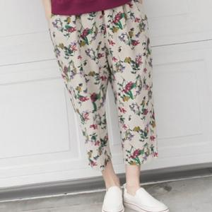 パンツ レディース 40代 50代 60代 ファッション 女性 上品  ベージュクロップドパンツ 柄 春 ミセス|alice-style