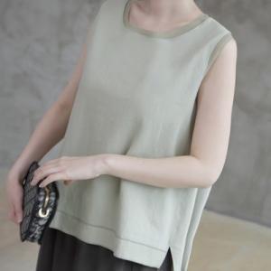 トップス レディース 40代 50代 60代 ファッション 女性 上品  ベージュ グレー カーキ 緑 カーキ 緑Tシャツ ノースリーブ 無地 春 ミセス|alice-style