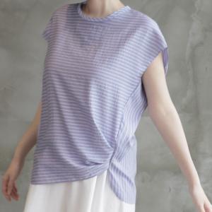 トップス レディース 40代 50代 60代 ファッション 女性 上品  黒 白Tシャツ ストライプ ノースリーブ 春 ミセス|alice-style