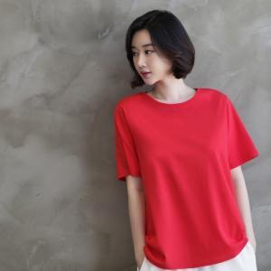 トップス レディース 40代 50代 60代 ファッション 女性 上品  赤  グレー Tシャツ 無地 きれいめ 半袖 春夏 ミセス|alice-style