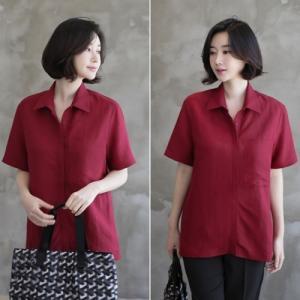 シャツ レディース 40代 50代 60代 ファッション 女性 上品  赤 ブラウス 半袖 無地 きれいめ 春夏 ミセス|alice-style