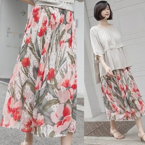 スカート レディース 40代 50代 60代 ファッション 女性 上品  黒ロング丈 花柄 フラワー 春 ミセス|alice-style