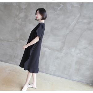 ワンピース レディース 40代 50代 60代 ファッション 女性 上品  黒 ベージュ膝丈 無地 半袖 きれいめ 通勤 春 ミセス|alice-style|03