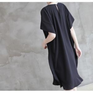 ワンピース レディース 40代 50代 60代 ファッション 女性 上品  黒 ベージュ膝丈 無地 半袖 きれいめ 通勤 春 ミセス|alice-style|04