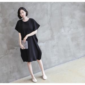 ワンピース レディース 40代 50代 60代 ファッション 女性 上品  黒 ベージュ膝丈 無地 半袖 きれいめ 通勤 春 ミセス|alice-style|05