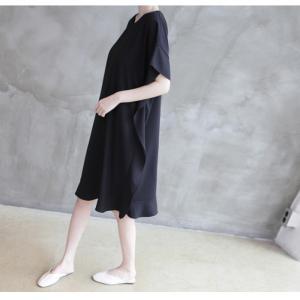 ワンピース レディース 40代 50代 60代 ファッション 女性 上品  黒 ベージュ膝丈 無地 半袖 きれいめ 通勤 春 ミセス|alice-style|09