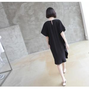 ワンピース レディース 40代 50代 60代 ファッション 女性 上品  黒 ベージュ膝丈 無地 半袖 きれいめ 通勤 春 ミセス|alice-style|10