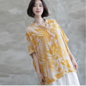 ブラウス レディース 大人 40代 50代 60代 ファッション 女性 上品 イエロー 黄色 ボタニカル柄 半袖 トップス きれいめ 春夏 ミセス|alice-style