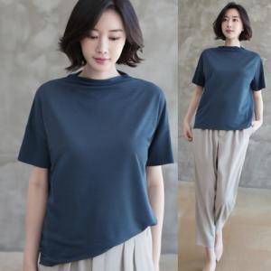 Tシャツ レディース 40代 50代 60代 ファッション 女性 上品  黒 グレー スラブ生地 トップス 無地 半袖 春 ミセス|alice-style