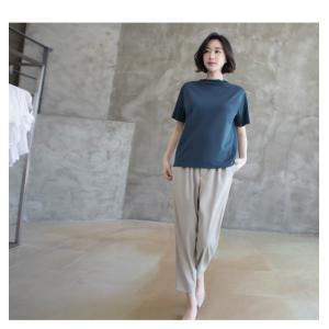 Tシャツ レディース 40代 50代 60代 ファッション 女性 上品  黒 グレー スラブ生地 トップス 無地 半袖 春 ミセス alice-style 11