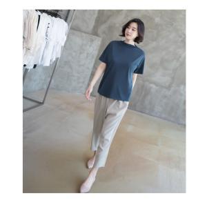 Tシャツ レディース 40代 50代 60代 ファッション 女性 上品  黒 グレー スラブ生地 トップス 無地 半袖 春 ミセス alice-style 15