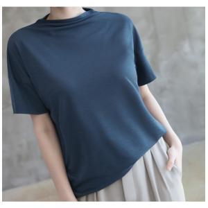 Tシャツ レディース 40代 50代 60代 ファッション 女性 上品  黒 グレー スラブ生地 トップス 無地 半袖 春 ミセス alice-style 19