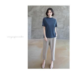 Tシャツ レディース 40代 50代 60代 ファッション 女性 上品  黒 グレー スラブ生地 トップス 無地 半袖 春 ミセス alice-style 20