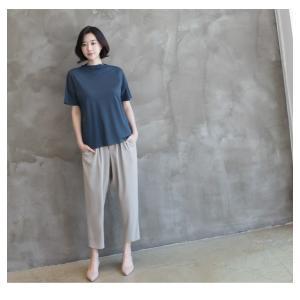 Tシャツ レディース 40代 50代 60代 ファッション 女性 上品  黒 グレー スラブ生地 トップス 無地 半袖 春 ミセス alice-style 21