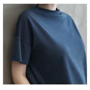 Tシャツ レディース 40代 50代 60代 ファッション 女性 上品  黒 グレー スラブ生地 トップス 無地 半袖 春 ミセス alice-style 04