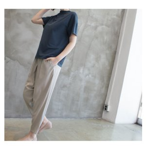 Tシャツ レディース 40代 50代 60代 ファッション 女性 上品  黒 グレー スラブ生地 トップス 無地 半袖 春 ミセス alice-style 06