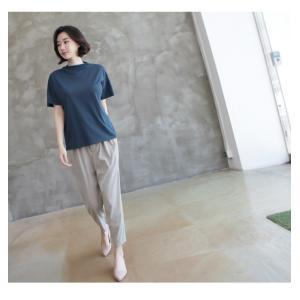 Tシャツ レディース 40代 50代 60代 ファッション 女性 上品  黒 グレー スラブ生地 トップス 無地 半袖 春 ミセス alice-style 07
