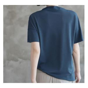 Tシャツ レディース 40代 50代 60代 ファッション 女性 上品  黒 グレー スラブ生地 トップス 無地 半袖 春 ミセス alice-style 08